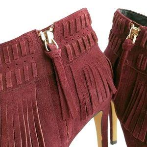 Rebecca Minkoff Shoes - Rebecca Minkoff Suede Fringe Peep Toe Heel Booties